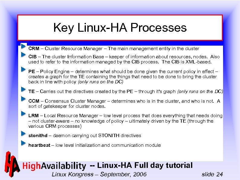 Key Linux-HA Processes CRM – Cluster Resource Manager – The main management entity in