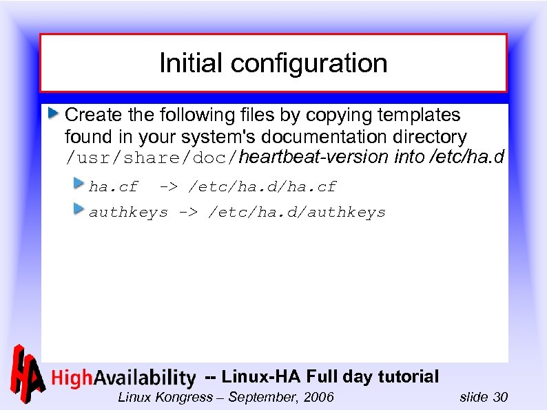 Initial configuration Create the following files by copying templates found in your system's documentation