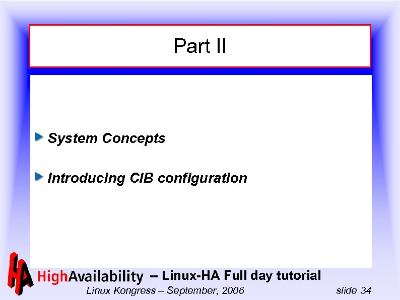 Part II System Concepts Introducing CIB configuration -- Linux-HA Full day tutorial Linux Kongress