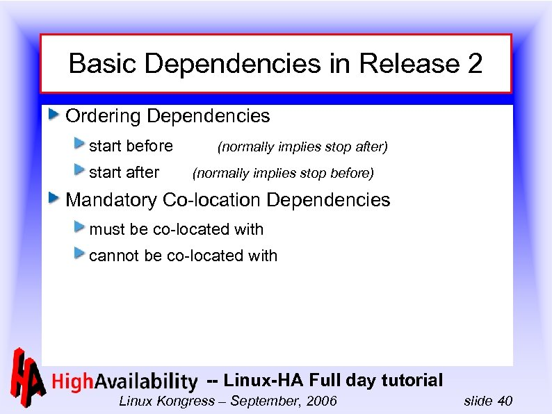 Basic Dependencies in Release 2 Ordering Dependencies start before start after (normally implies stop