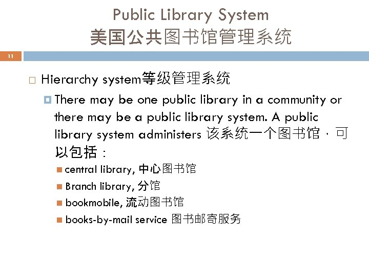 Public Library System 美国公共图书馆管理系统 11 Hierarchy system等级管理系统 There may be one public library in