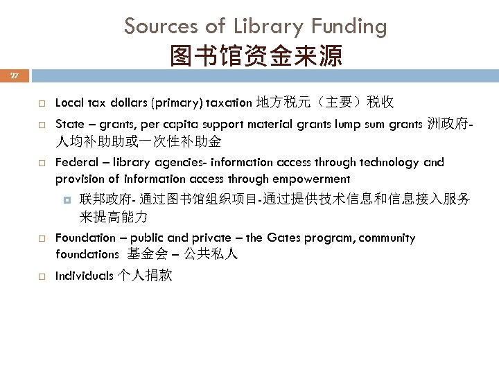 Sources of Library Funding 图书馆资金来源 27 Local tax dollars (primary) taxation 地方税元(主要)税收 State –