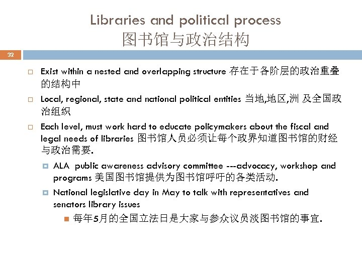 Libraries and political process 图书馆与政治结构 32 Exist within a nested and overlapping structure 存在于各阶层的政治重叠