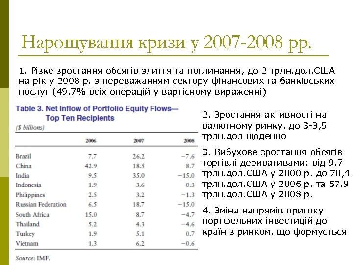 Нарощування кризи у 2007 -2008 рр. 1. Різке зростання обсягів злиття та поглинання, до