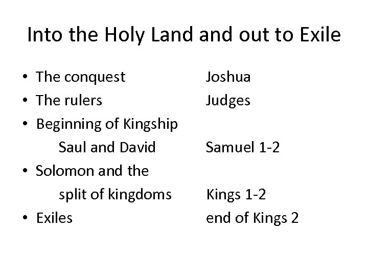Into the Holy Land out to Exile • The conquest • The rulers •
