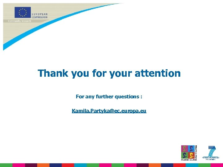 Thank you for your attention For any further questions : Kamila. Partyka@ec. europa. eu