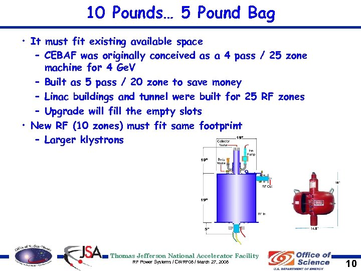 10 Pounds… 5 Pound Bag • It must fit existing available space – CEBAF