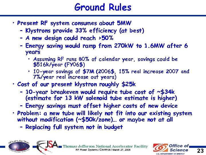 Ground Rules • Present RF system consumes about 5 MW – Klystrons provide 33%