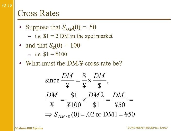 32 -10 Cross Rates • Suppose that SDM(0) =. 50 – i. e. $1