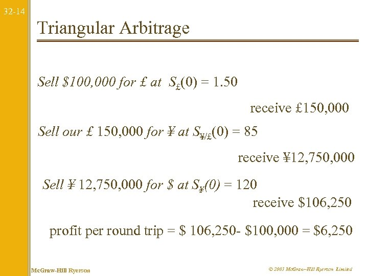 32 -14 Triangular Arbitrage Sell $100, 000 for £ at S£(0) = 1. 50