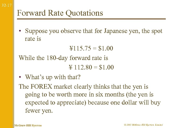 32 -17 Forward Rate Quotations • Suppose you observe that for Japanese yen, the