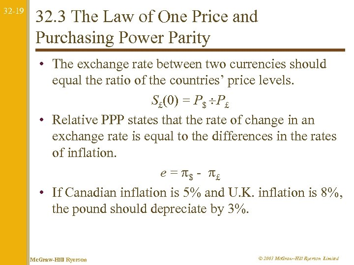 32 -19 32. 3 The Law of One Price and Purchasing Power Parity •