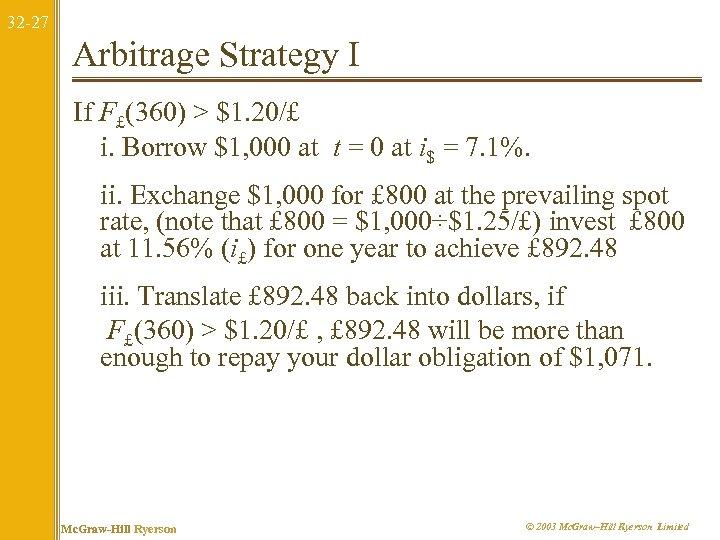 32 -27 Arbitrage Strategy I If F£(360) > $1. 20/£ i. Borrow $1, 000