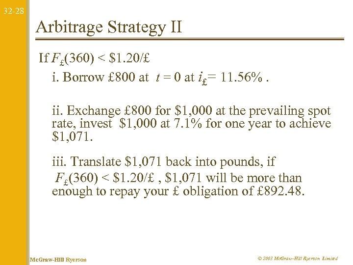 32 -28 Arbitrage Strategy II If F£(360) < $1. 20/£ i. Borrow £ 800