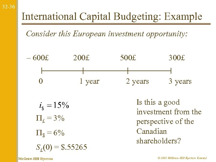 32 -36 International Capital Budgeting: Example Consider this European investment opportunity: – 600£ 0