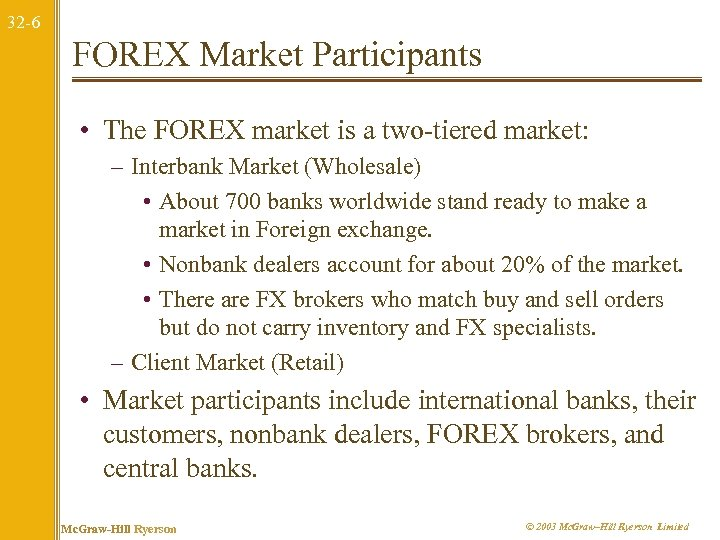 32 -6 FOREX Market Participants • The FOREX market is a two-tiered market: –