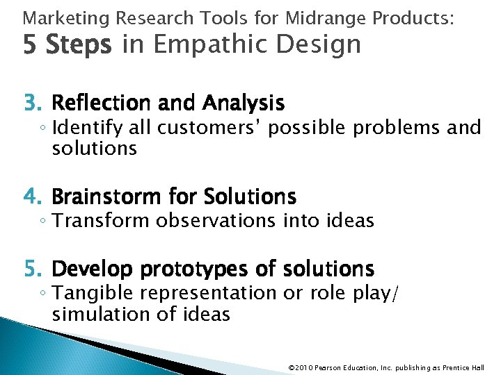 Marketing Research Tools for Midrange Products: 5 Steps in Empathic Design 3. Reflection and