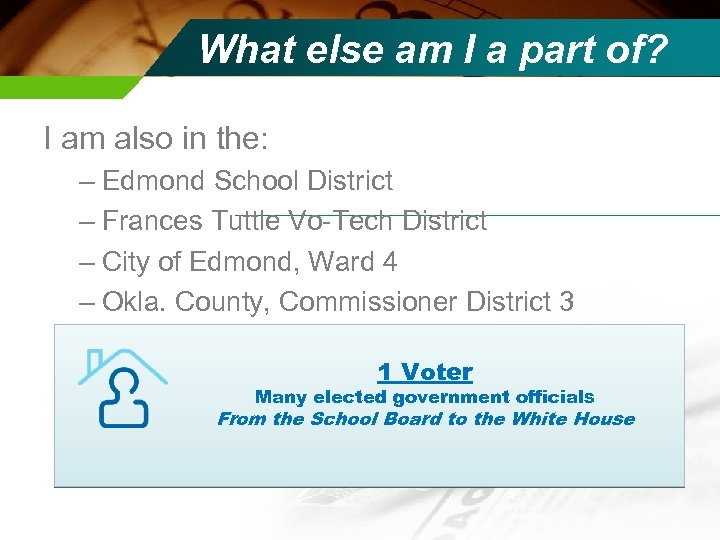What else am I a part of? I am also in the: – Edmond
