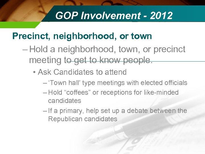 GOP Involvement - 2012 Precinct, neighborhood, or town – Hold a neighborhood, town, or