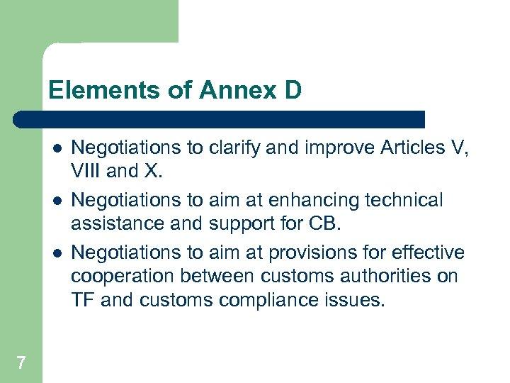 Elements of Annex D l l l 7 Negotiations to clarify and improve Articles