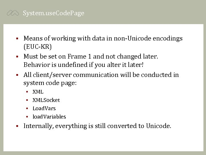 System. use. Code. Page Means of working with data in non-Unicode encodings (EUC-KR) §