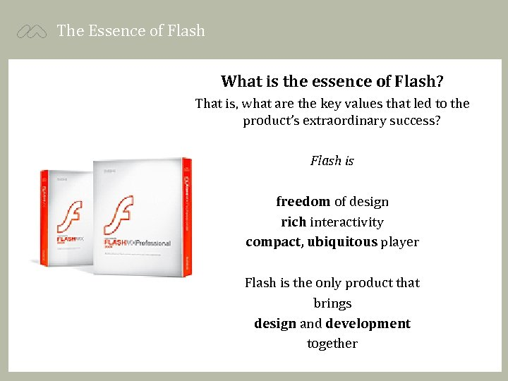 The Essence of Flash What is the essence of Flash? That is, what are