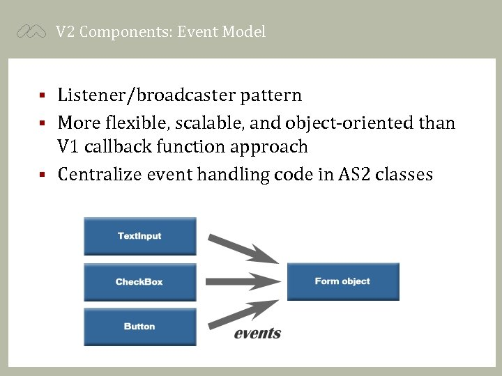 V 2 Components: Event Model Listener/broadcaster pattern § More flexible, scalable, and object-oriented than