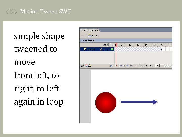 Motion Tween SWF simple shape tweened to move from left, to right, to left