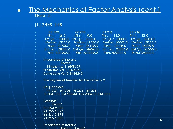 n The Mechanics of Factor Analysis (cont. ) Model 2: [1] 2456 148 n