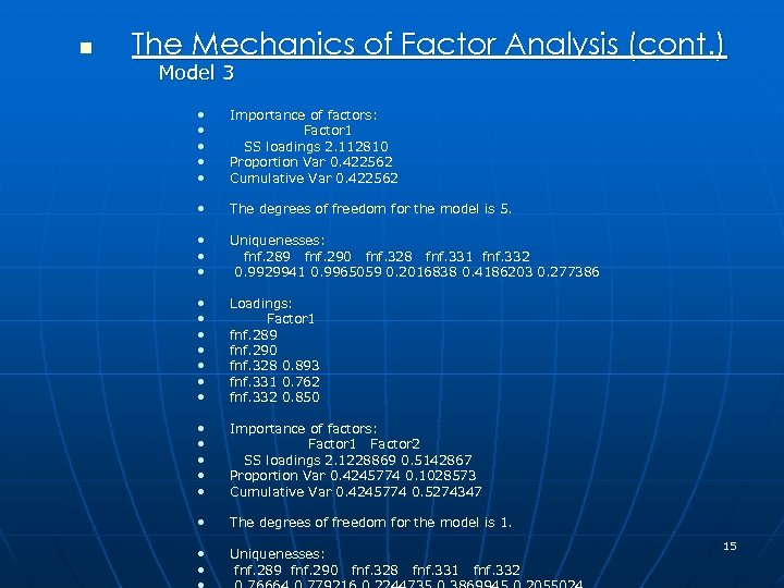 n The Mechanics of Factor Analysis (cont. ) Model 3 • • • Importance