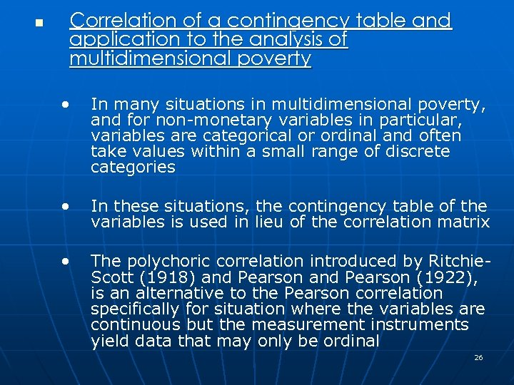 n Correlation of a contingency table and application to the analysis of multidimensional poverty