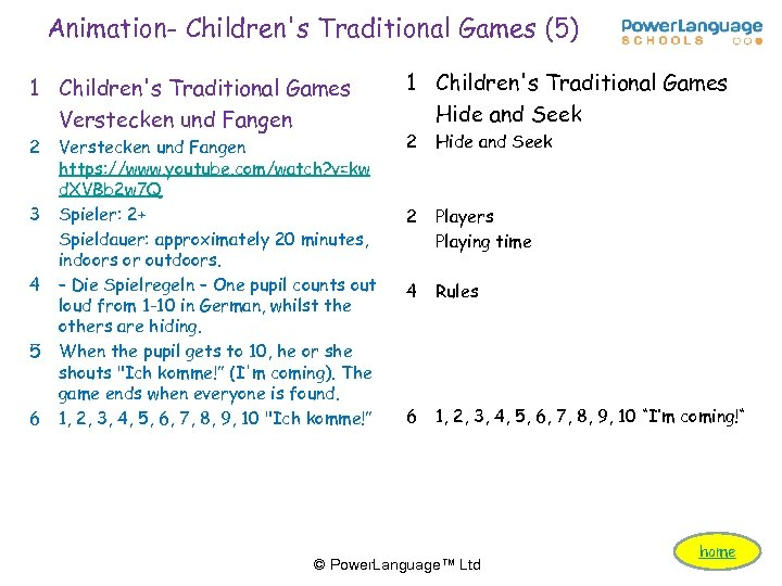 Animation- Children's Traditional Games (5) 1 Children's Traditional Games Verstecken und Fangen 2 3