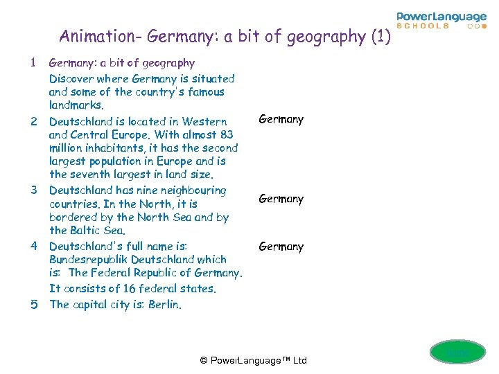 Animation- Germany: a bit of geography (1) 1 2 3 4 5 Germany: a
