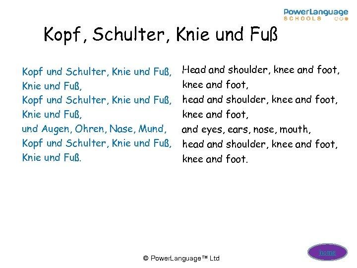 Kopf, Schulter, Knie und Fuß Kopf und Schulter, Knie und Fuß, und Augen, Ohren,