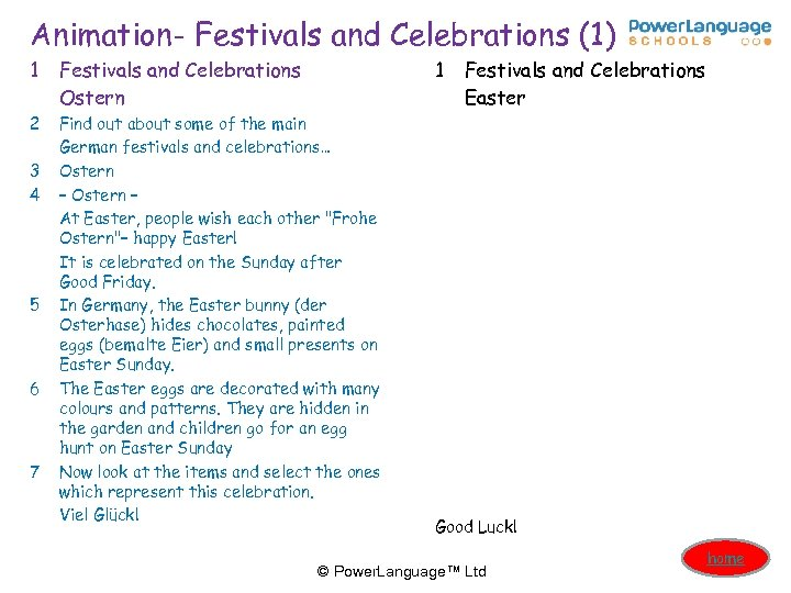 Animation- Festivals and Celebrations (1) 1 Festivals and Celebrations Ostern 2 Find out about