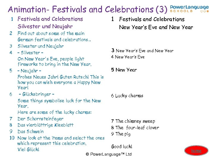 Animation- Festivals and Celebrations (3) 1 Festivals and Celebrations Silvester und Neujahr 2 Find