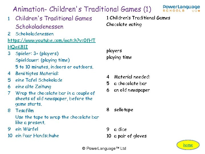 Animation- Children's Traditional Games (1) 1 Children's Traditional Games Schokoladenessen 2 Schokoladenessen https: //www.