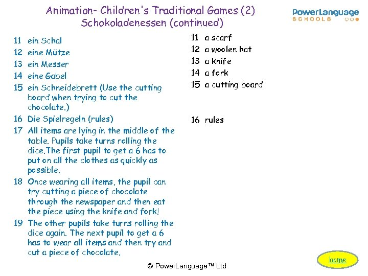 Animation- Children's Traditional Games (2) Schokoladenessen (continued) 11 12 13 14 15 16 17