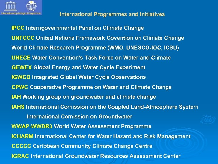 International Programmes and Initiatives IPCC Interngovernmental Panel on Climate Change UNFCCC United Nations Framework