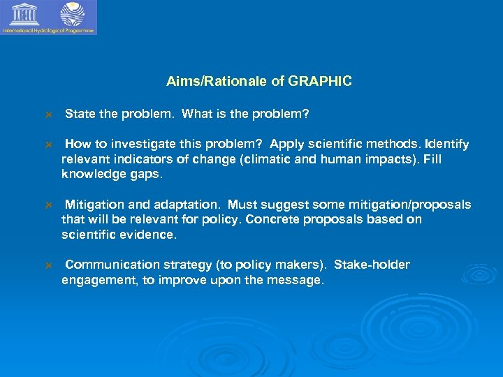 Aims/Rationale of GRAPHIC State the problem. What is the problem? How to investigate this