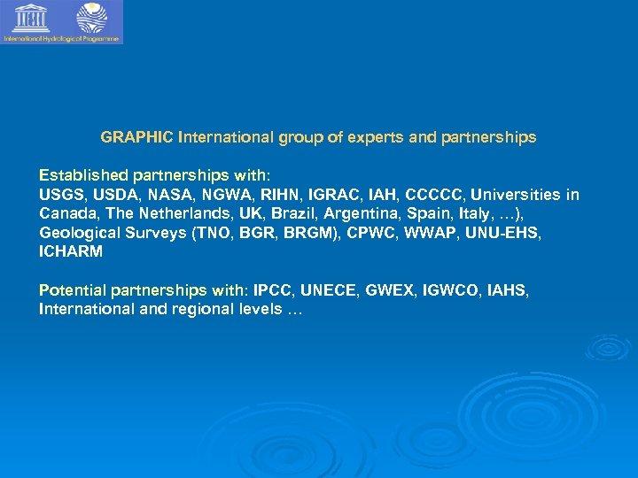 GRAPHIC International group of experts and partnerships Established partnerships with: USGS, USDA, NASA, NGWA,
