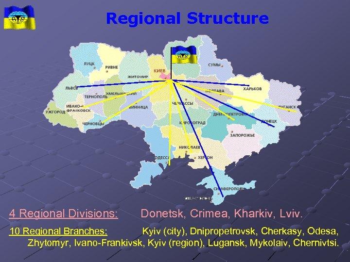 Regional Structure 4 Regional Divisions: Donetsk, Crimea, Kharkiv, Lviv. 10 Regional Branches: Kyiv (city),
