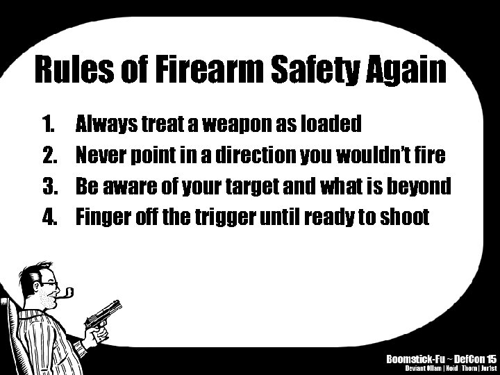 Rules of Firearm Safety Again 1. 2. 3. 4. Always treat a weapon as