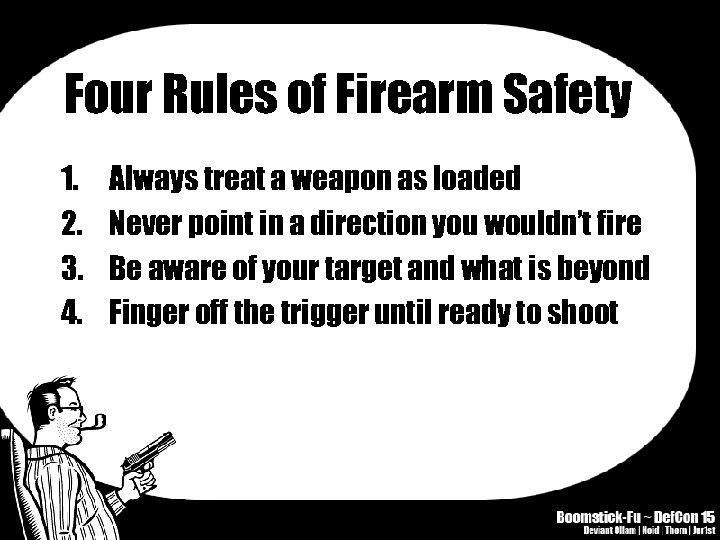 Four Rules of Firearm Safety 1. 2. 3. 4. Always treat a weapon as