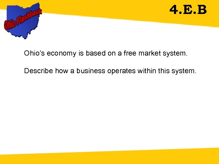 4. E. B Ohio's economy is based on a free market system. Describe how