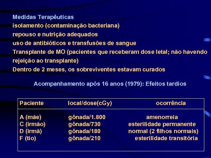 Medidas Terapêuticas isolamento (contaminação bacteriana) repouso e nutrição adequados uso de antibióticos e transfusões