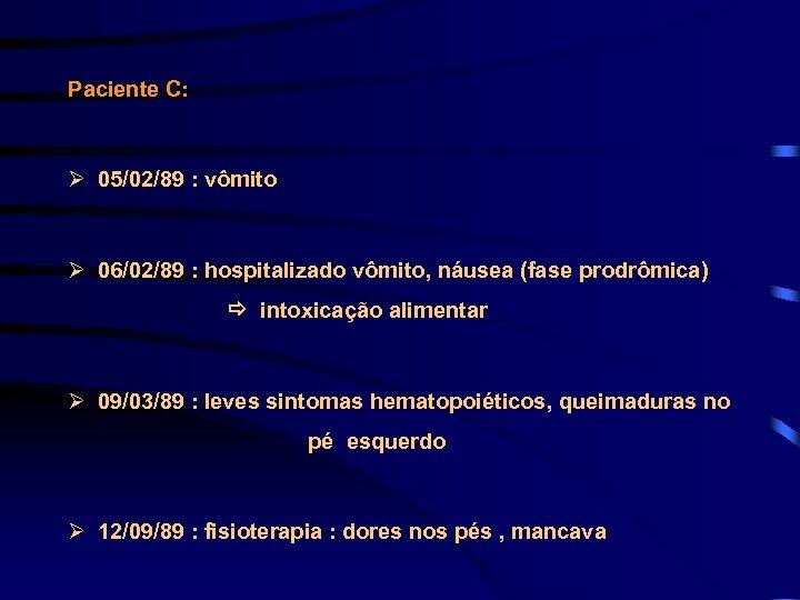 Paciente C: Ø 05/02/89 : vômito Ø 06/02/89 : hospitalizado vômito, náusea (fase prodrômica)