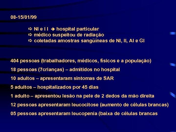 08 -15/01/99 NI e I I hospital particular médico suspeitou de radiação coletadas amostras