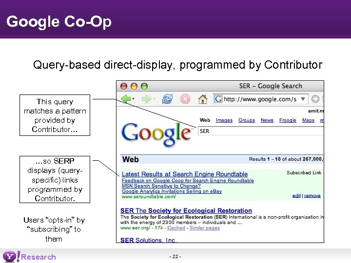 Google Co-Op Query-based direct-display, programmed by Contributor This query matches a pattern provided by
