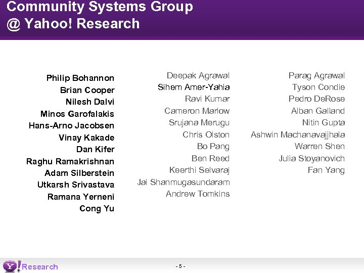 Community Systems Group @ Yahoo! Research Philip Bohannon Brian Cooper Nilesh Dalvi Minos Garofalakis